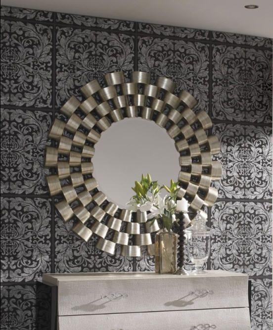"Espejo decorativo ""Lanin"" redondo acabado en pan de plata.  120cm x 120cm  http://www.ibergada.com/index.php?route=product/product&product_id=2311&search=lanin"
