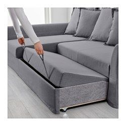 Holmsund sleeper sectional 3 seat nordvalla medium gray for Angled chaise lounge sofa