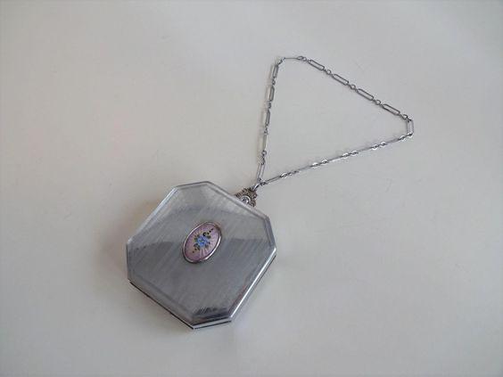 Art Deco Guilloche Chatelain Compact Coin Purse Rouge Mirror Chain Dance Purse  $84  https://www.rubylane.com/item/676693-CL17-88/Art-Deco-Guilloche-Chatelain-Compact-Coin?search=1