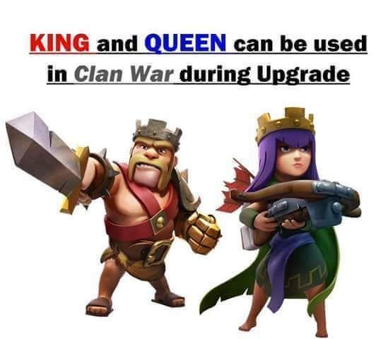 Clash Of Clans now has the King and Queen also available in the War.
