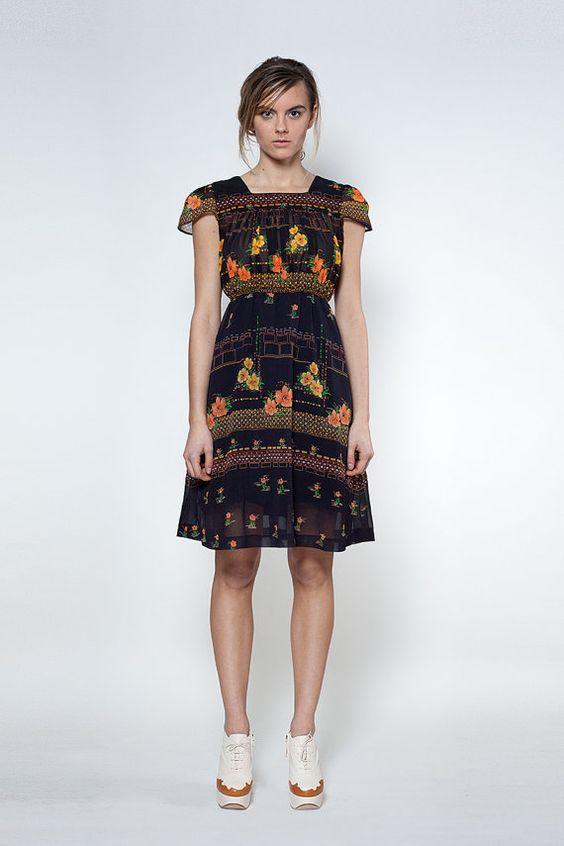 Japanese Vintage Dress S// 70s Dress// Digital by StandardVintage, $84.00