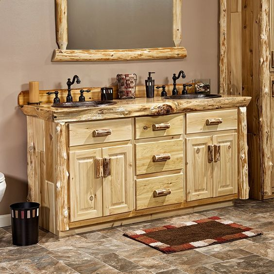 rustic bathroom furniture real cedar log cabin vanity 48 quot 72 quot lakes drawers and 14281