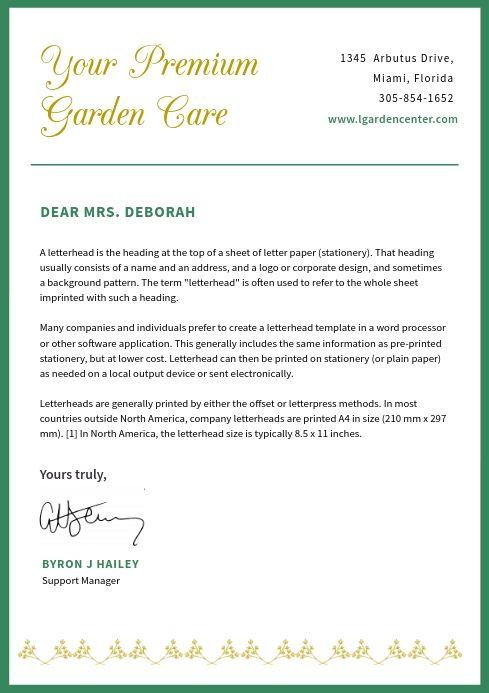 Green Border Modern Letterhead Company Letterhead Template Letterhead Examples Personal Letterhead