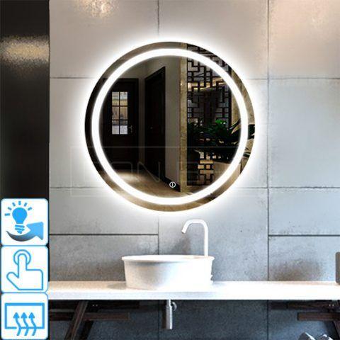 Miroir Salle D Eau Avec Eclairage Rond Touche Sensif Miroir Lumineux Miroir Led Lumineuse