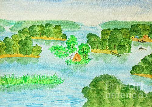 Irina  Afonskaya - Lake with islands, painting