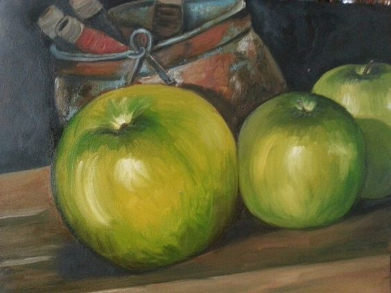 Green apples painting