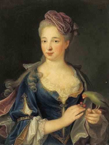 "c. 1730: ""Portrait of Madame de Chateaurenard"" by Joseph Andre Cellony, oil on canvas."