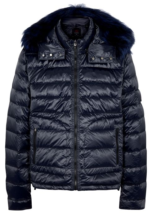 The Down navy fur trimmed shell jacket | Jackets, Fur trim