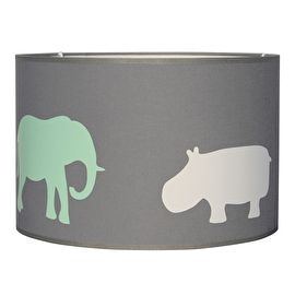 Lamp grijs met dieren in mint groen, bruin en wit De lampenkap is ...