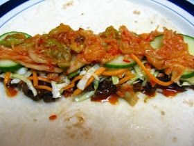 Slow-Cooker Korean Beef Tacos w/ Kimchi, Gochujang BBQ Sauce, Asian Slaw & Quick Pickles