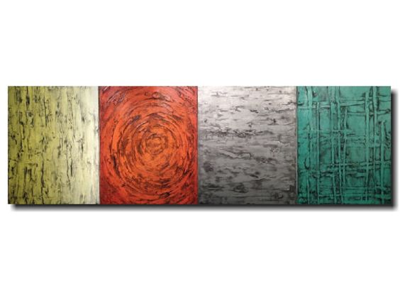 Original large abstract canvas painting by JMJartstudio. This wall art measures 24 x 72 inches , it is a 4 piece painting. featuring shades of