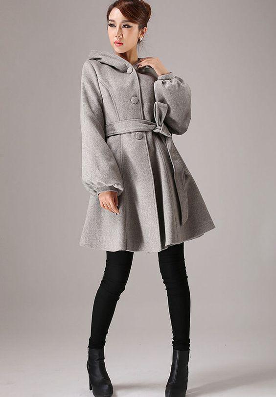 Bray wool coat hooded coat winter jacket cashmere coat by xiaolizi, $179.00