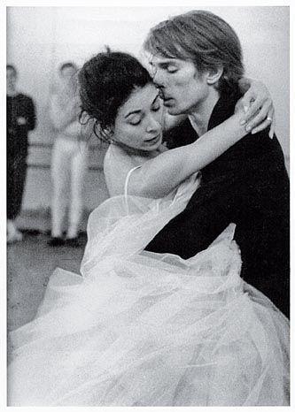 Rudolph Nuryev and Margot Fonteyn in rehearsal as Margurite & Armaund.