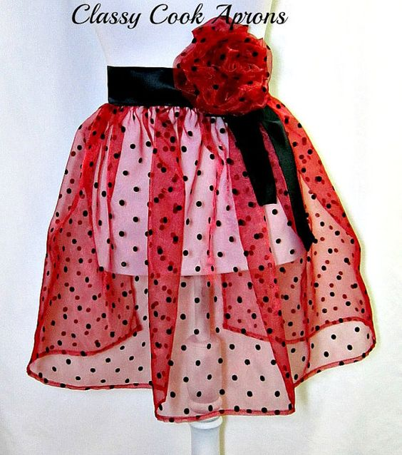 Half Apron RED & RACY Sheer SEXY Red Organza by ClassyCookAprons