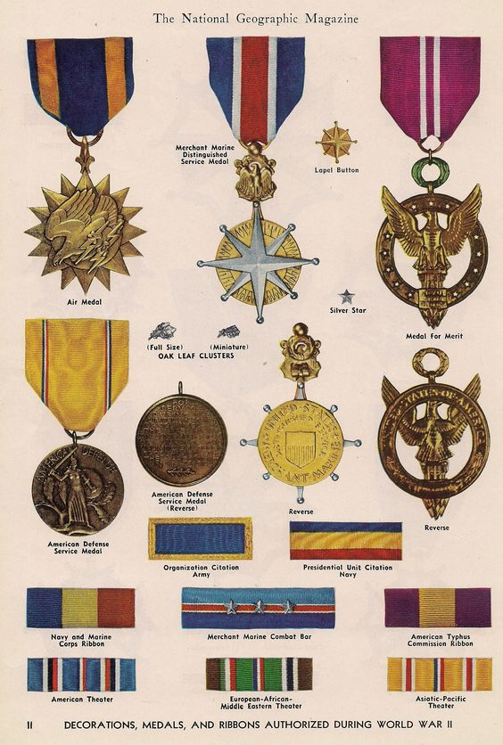 Decorations medals ribbons authorized during world war for Awards decoration