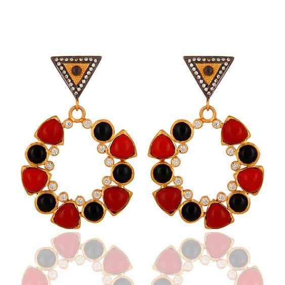 Multi Gemstone Earring, 18k Gold Plated Earring Jewelry,  Fashion Earrings, Women Earrings, Post Earring, Bridesmaid Earring  #jewelry #fashionjewelry #Jewelrylover #fashionista #gemstonejewelry