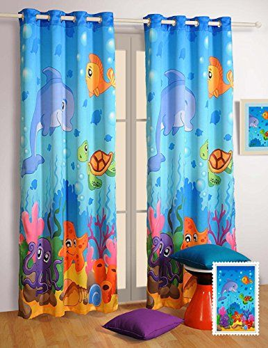Water World Curtains - Set of 2 Curtain Panels for a Baby Nursery ...