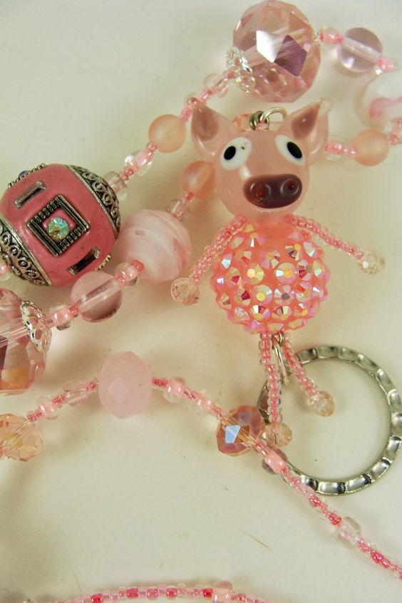 Miss Piggy Lanyard by BetsysBeadworks on Etsy, $20.00 Sold 9/8/13