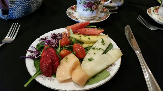 "First course at High Tea Cottage in Woodland Hills.  Fun girly place for special occasions.  We always wear hats for that ""dress up tea party"" feeling."