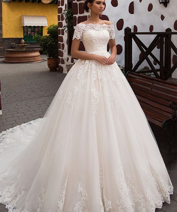 Details About Short Sleeves Ivory Lace Bridal Wedding Dress Custom