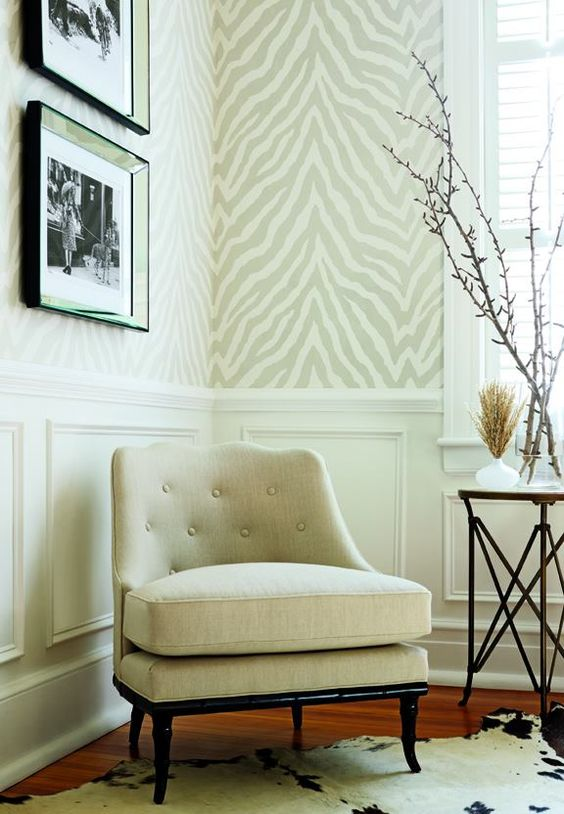 chair rail and zebra wallpaper: Interior Design, Dining Room, Powder Room, Wall Paper, Living Room, Animal Prints, Zebra Print Wallpaper, Neutral Zebra, Zebra Wallpaper