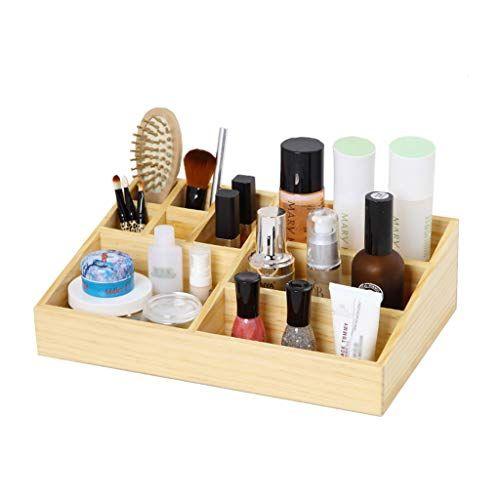 Liyansnh Wood Makeup Organizer Display Vanity Case Desk Organiser Storage Box Holder For Makeup Brush Comb 9 Grids Repisas