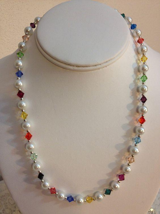 Swarovski de varios color collar de perlas por karlajophoto en Etsy