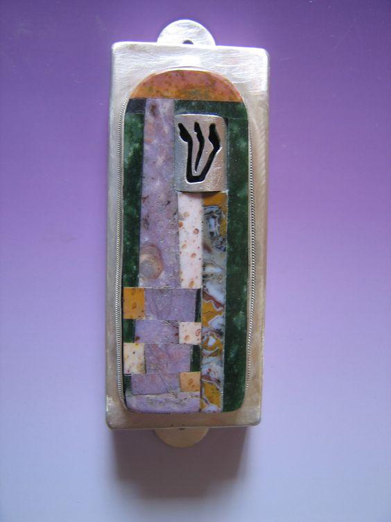 Intarsia Mezuzah, stone adn silver, by Ruth Shapiro. http://www.growingupjewish.com