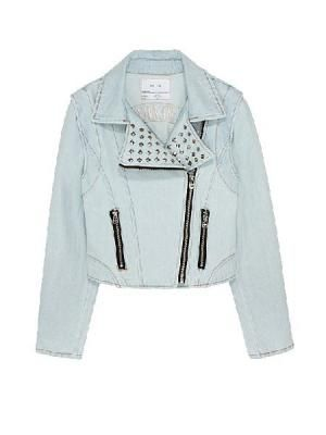 Zipper Light-colored Denim Jacket