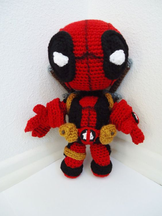 Amigurumi Crochet Dress Pattern : NEW Deadpool Sackboy Amigurumi crocheted stuffed doll by ...