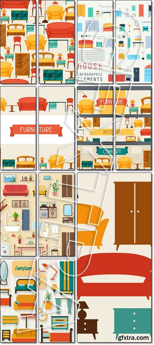 Interior seamless pattern with furniture in retro style - Vector