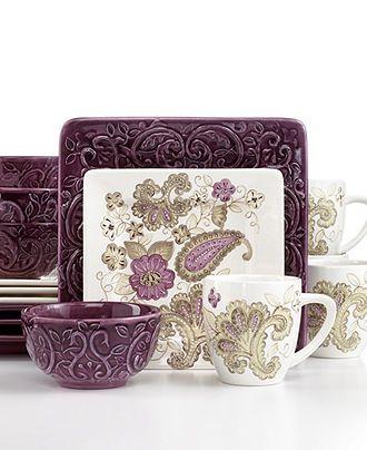 Laurie Gates Dinnerware, Melrose 16 Piece Set - Casual Dinnerware - Dining  u0026 Entertaining -