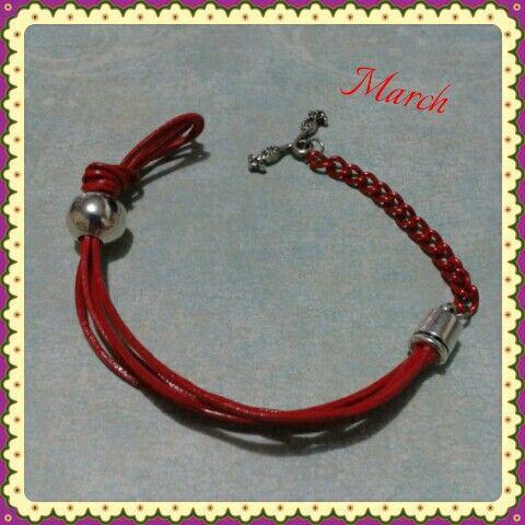 Red leather bracelet