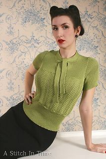 Jersey with a Soft Bow by Susan Crawford. A Stitch In Time, Knitting and Crochet Patterns, 1920-1949 Vol. 1 | ravelry.com