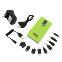 EZOPower Green 2-Port High-capacity Portable External Rechargable Backup Battey Pack -6600mAh (1.3A) + USB Travel Charger for IPhone®, IPOD®, IPad®, MP3 Players, Tablet, Mobile Phone, Android Phone, Cell Phone, Blackberry, and more