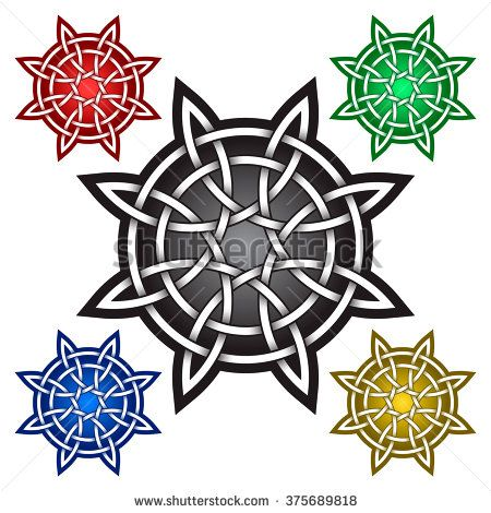 Circular octagonal logo template in celtic knots style for Circular symbols tattoos