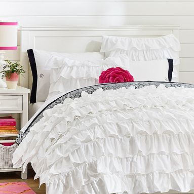 Rufflicious Quilt + Sham, White #pbteen <3 + duvet covers and sheets <3   <3   <3   <3  I got this a couple of weeks ago and I love it so much!