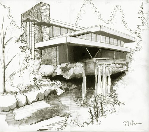 Fallingwater house by naokosstoop via flickr croquis e for Croquis de casas