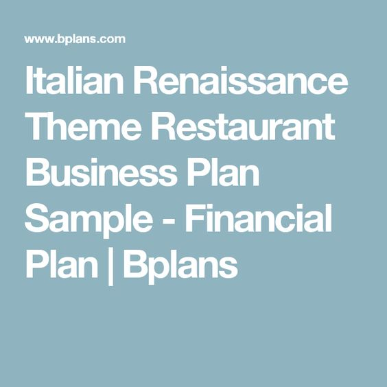 Italian Renaissance Theme Restaurant Business Plan Sample
