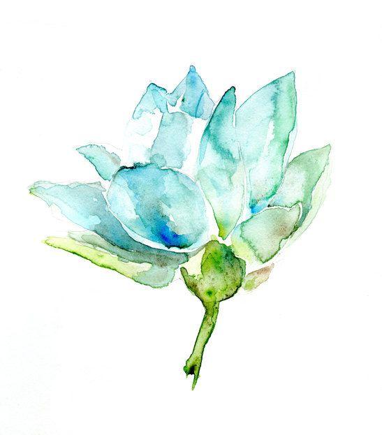 Original Lotus Watercolor Painting. Lotus Fower Zen Art. Blue Aqua and Green colors.