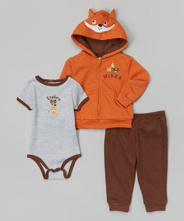 Another great find on #zulily! Orange 'Hiker' Zip-Up Hoodie Set - Infant by Buster Brown #zulilyfinds