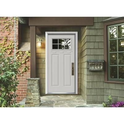 Jeld wen 36 in x 80 in craftsman 6 lite primed premium for Buy jeld wen windows online
