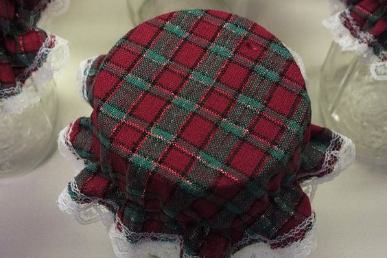 6 Red and Green Metallic Plaid Mason by KathysHeartCreations