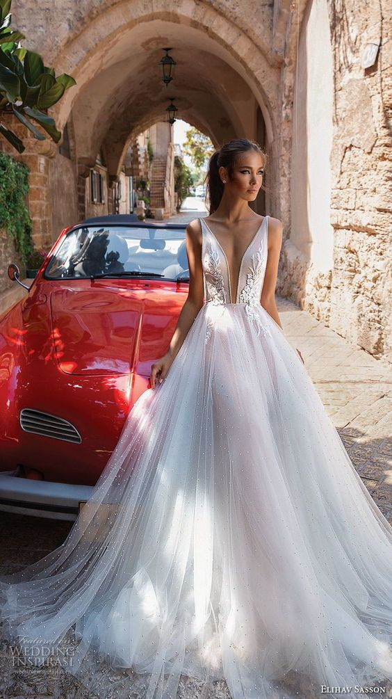 elihav sasson 2018 capsule bridal sleeveless deep plunging v neck heavily embellished bodice tulle skirt romantic soft a line wedding dress chapel train (1) mv -- Elihav Sasson 2018 Royalty Girl Capsule Collection