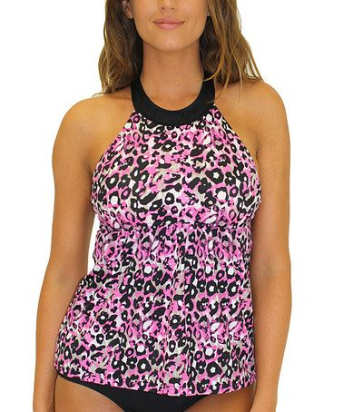 Look what I found on #zulily! Pink Skinz High-Neck Tankini Top by Fit 4 U! #zulilyfinds