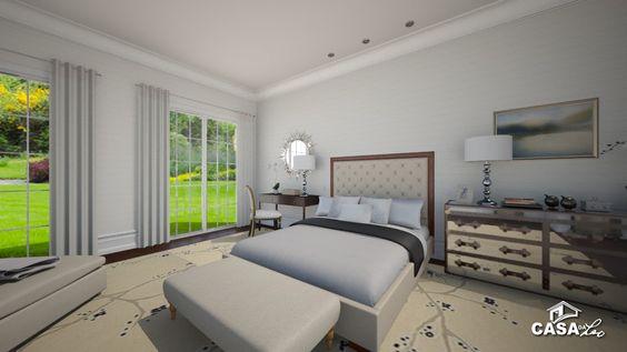 Casa da Leo: Villa White & Bright Projecto em 3D para decoração de uma Suite completa.