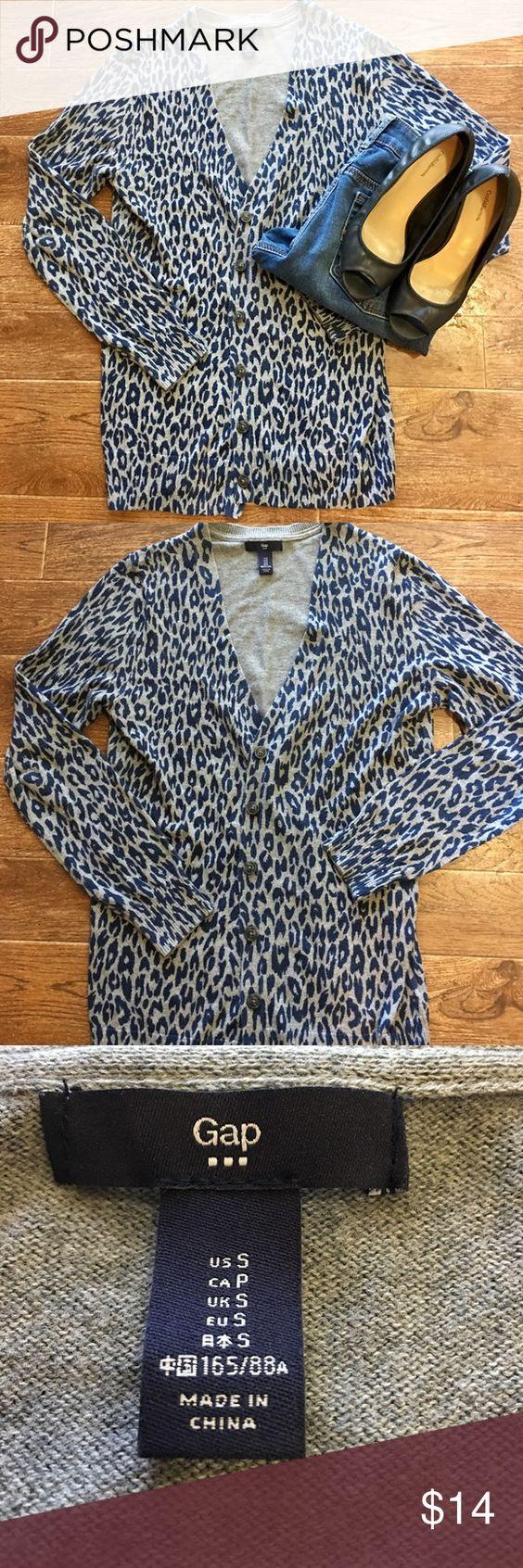 Gray and Blue Leopard Print Gap Cardigan | Blue, Leopard prints ...