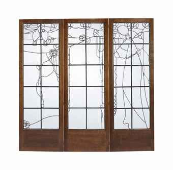 AN ARTS & CRAFTS LEADED AND CLEAR GLASS OAK FRAMED THREE-FOLD SCREEN, AFTER E.A. TAYLOR c1900