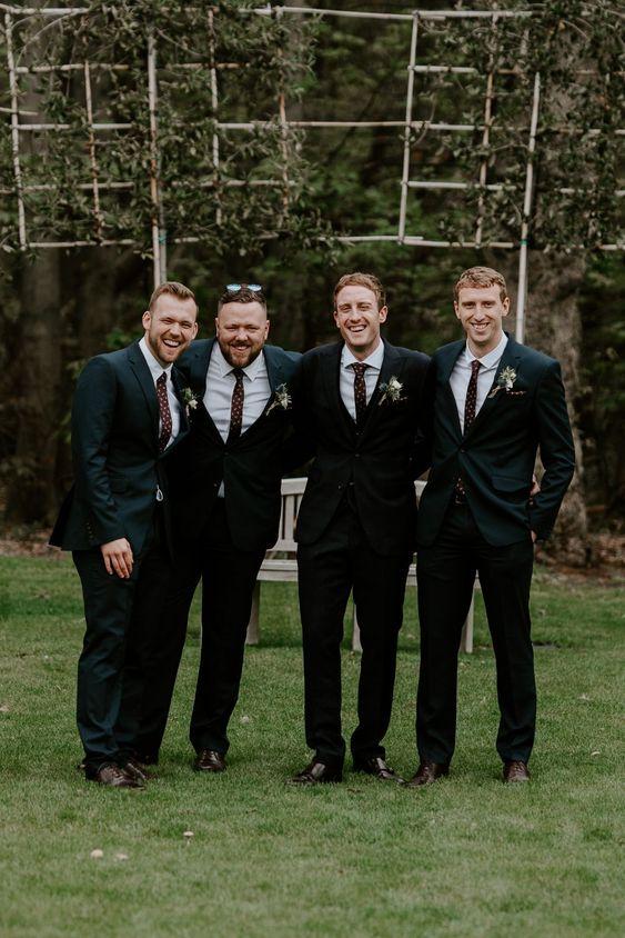 Groom Suit Black Red Tie Groomsmen Hazel Gap Barn Wedding The Light Painters #Groom #WeddingSuit #BlackSuit #RedTie #Groomsmen #Wedding