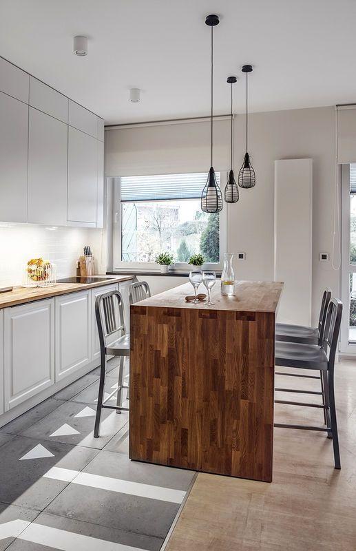 Wyspa Kuchenna Z Drewnianym Blatem Kuchnia Styl Nowoczesny Aranzacja I Wystroj Wnetrz Kitchen Home Home Decor